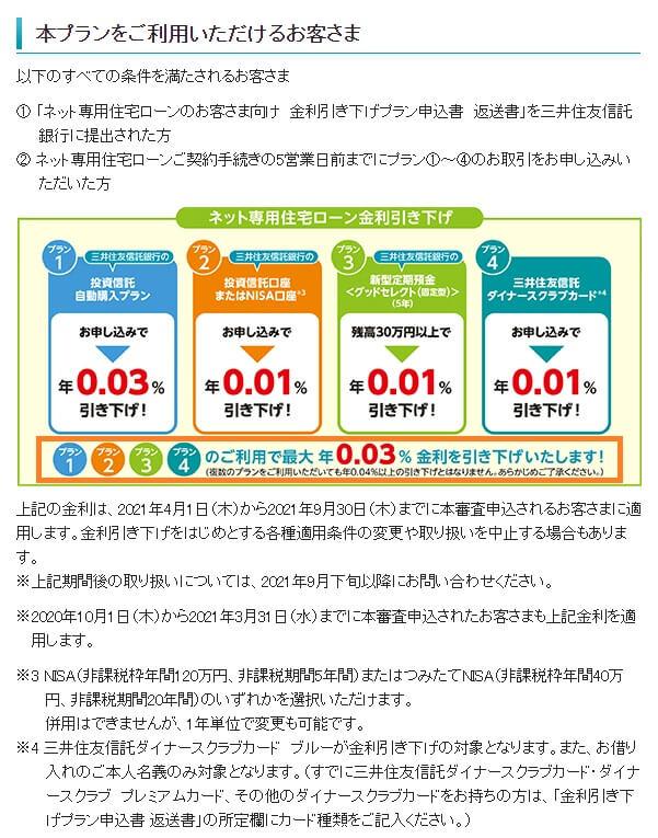 三井住友信託銀行の取引で住信SBOネット銀行の住宅ローン金利引き下げキャンペーン